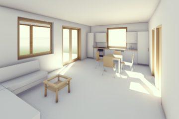 Az új tervek első munkaközi látványtervei - Keller Családi áz, Balatonmáriafürdő - nappali a harmadik háló felől