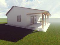 Az új tervek első munkaközi látványtervei - Keller Családi áz, Balatonmáriafürdő - nyugati homlokzat