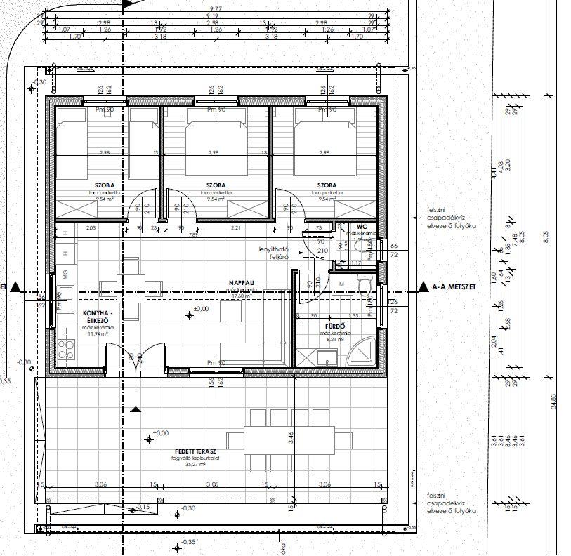 Tervezett földszinti alaprajz - Keller Családi Ház 2018-08-08