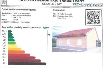 Kiemelkedően nagy energiahatékonyságú a balatonmáriafürdői Keller Családi Ház! AA+